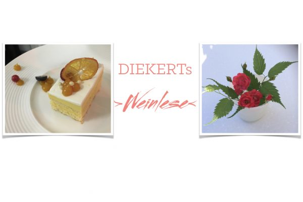 Piece of cake and flowers in a vase - Diekert's grape harvest package