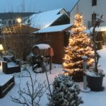 Christmas tree and outside seating area covered with snow