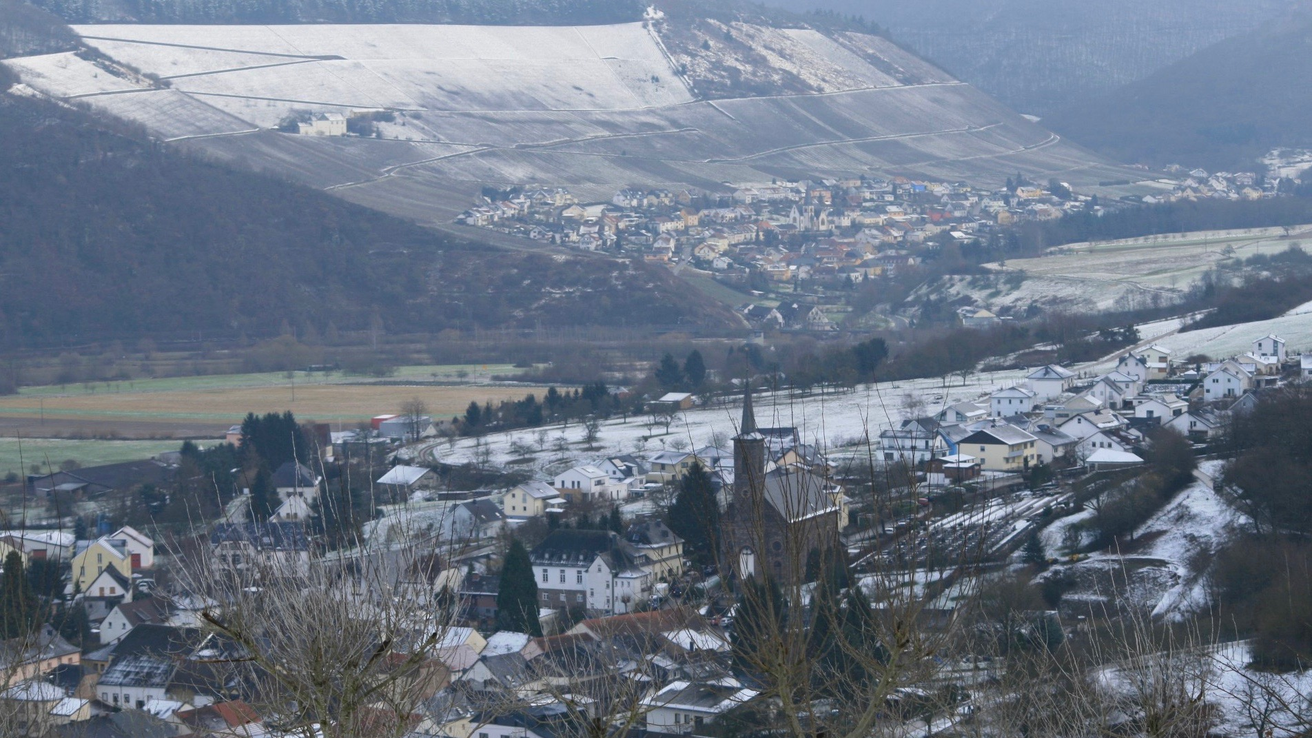 View of a town covered with snow